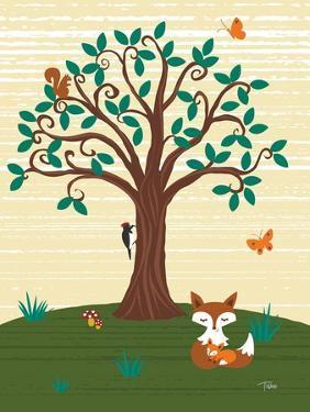 Grand Tree & Foxes by Teresa Woo