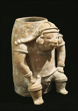 Terracotta Vessel with Human Figure in Relief from Jama-Coaque, 1st-2nd Century B.C.