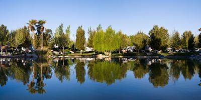 Terrible's Lakeside Casino RV Park reflected in lake in Pahrump, Nye County, Nevada, USA