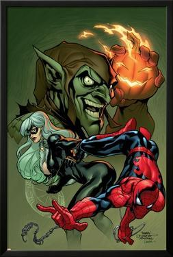 Marvel Knights Spider-Man V3, No.10 Cover: Black Cat, Spider-Man and Green Goblin Crouching by Terry Dodson