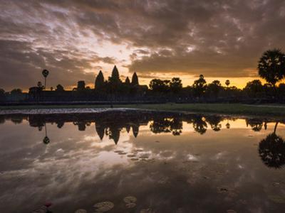 Asia, Cambodia, Angkor Watt, Siem Reap, Sunrise reflections at Angkor Wat by Terry Eggers