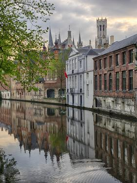 Belgium, Brugge, West Flanders, Canal Scene with homes and Bridge by Terry Eggers