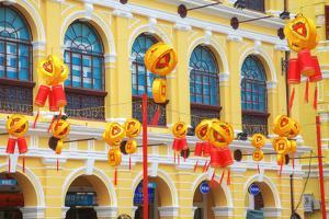 China, Macau, Tile Covered Streets at Chinese New Year by Terry Eggers