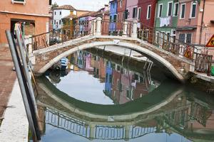 Colorful Houses along the Canals of Burano and reflections. by Terry Eggers