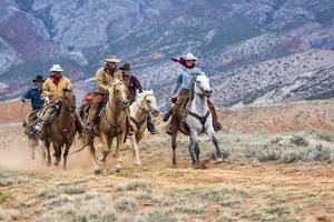 Cowgirl & Cowboy at Full Gallop by Terry Eggers