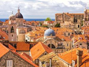Croatia, Dubrovnik. Red roofs and domes of the old city by Terry Eggers