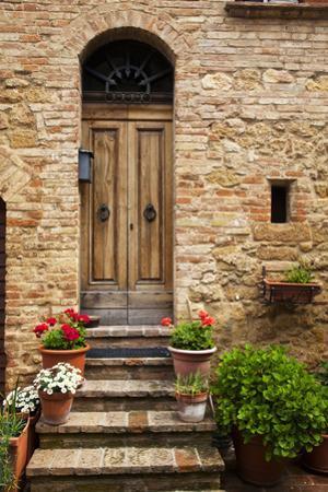 Doorway with Flowers, Pienza, Tuscany, Italy
