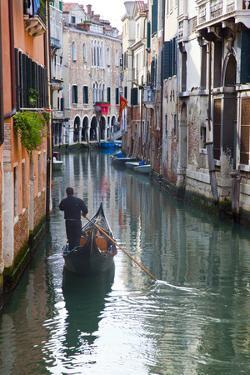 Gondolas on the Canals of Venice, Italy by Terry Eggers