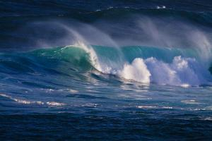 Hawaii, Oahu, Large Waves Along the Pipeline Beach by Terry Eggers