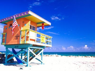 Life Guard Station, South Beach, Miami, Florida, USA by Terry Eggers