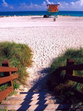 Life Guard Station, Walkway, South Beach, Miami, Florida, USA by Terry Eggers