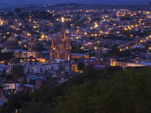 Mexico, San Miguel de Allende, City view with Parroquia Archangel Church by Terry Eggers