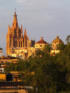 Mexico, San Miguel de Allende, Evening Lights Parroquia Archangel Church by Terry Eggers