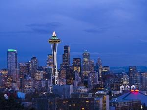 Night View of Seattle Skyline with Christmas Tree on the Space Needle by Terry Eggers