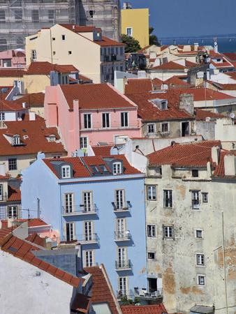 Portugal, Lisbon, view of the colorful homes in the oldest district of the Alfama