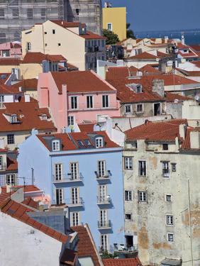 Portugal, Lisbon, view of the colorful homes in the oldest district of the Alfama by Terry Eggers