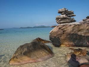Thailand, Phuket, Phi Phi Islands, Rock display at Island Beach by Terry Eggers