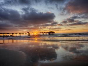 USA, California, San Diego, La Jolla. Scripps Institution of Oceanography Pier with sunset by Terry Eggers