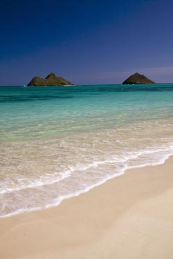 USA, Hawaii, Oahu, Lanikai Twin Mokulua Islands with Blue Water by Terry Eggers