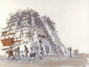 Mayan Laborers Fit and Mortar a Temple's Limestone Blocks by Terry Rutledge