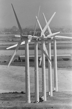 Row of Wind Turbines at Wind Farm by Terry Schmitt
