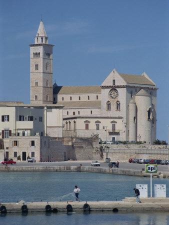 12th Century Cathedral of San Nicola Pellegrino Overlooking the Sea, Trani, Puglia, Italy