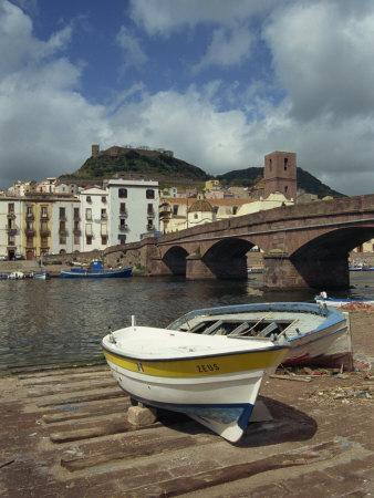 Boats Beside a Bridge over the Temo River at Bosa on the Island of Sardinia, Italy, Europe