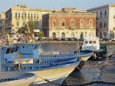 Boats in the Harbour, Ortygia, Syracuse, on the Island of Sicily, Italy, Europe