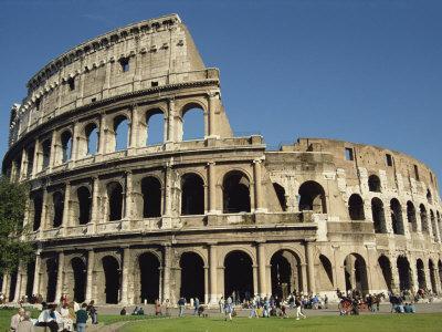Exterior of the Colosseum in Rome, Lazio, Italy, Europe