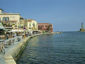 Harbour Waterfront and the Venetian Lighthouse, Chania, Crete, Greece, Europe by Terry Sheila