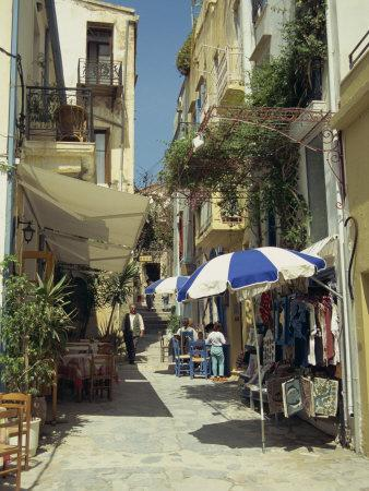 Narrow Streets in the Old Town, with Shops and Restaurants, Chania, Crete, Greece, Europe