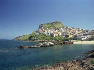 Rocky Coast and the Houses and Fort of Castelsardo on the Island of Sardinia, Italy, Mediterranean