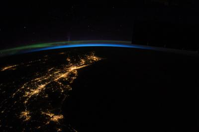 City Lights Along the East Coast Near the Atlantic Ocean by Terry Virts