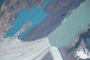 Iss View of Turquoise Blue and Deep Green Waters at the Upsala Glacier by Terry Virts