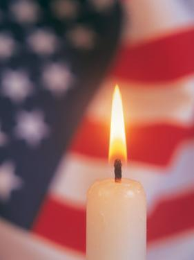 Candle with USA Flag Behind by Terry Why