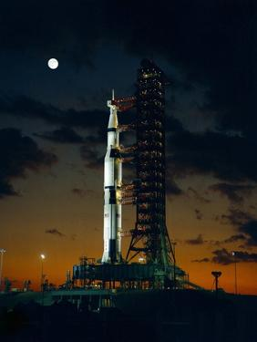 Test Flight of Giant Saturn V Rocket for Apollo 4 Mission at Kennedy Space Center, Nov 8, 1967