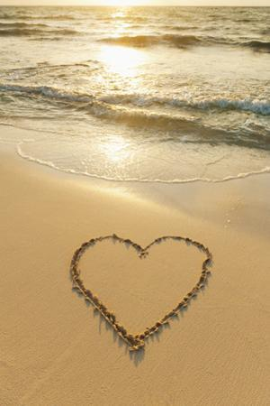 Mexico, Yucatan, Heart Drawn in Sand on Beach by Tetra Images