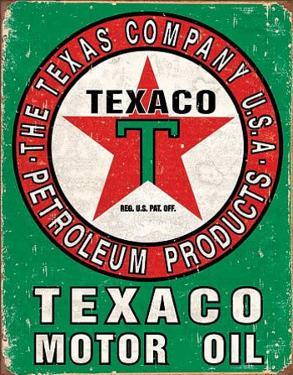 Texaco Oil Weathered Tin Sign