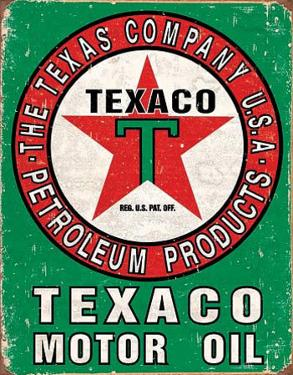 Texaco Oil Weathered Tin Sign