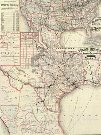 Texas and Mexico, Houston and Texas Central Railways, c.1885