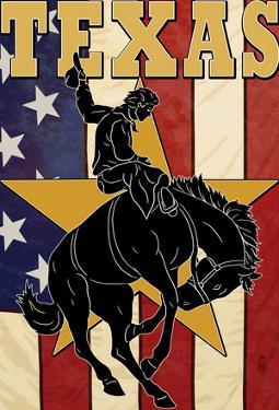 Texas - Cowboy With Bucking Bronco