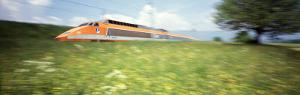 TGV High-Speed Train Moving Through Hills, Blurred Motion
