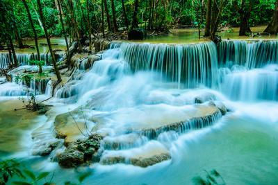 Huay Mae Khamin - Waterfall, Flowing Water, Paradise in Thailand.