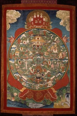 Thangka, Depicting Wheel of Life Turned by Red Yama, Lord of Death, 19th-20th Century