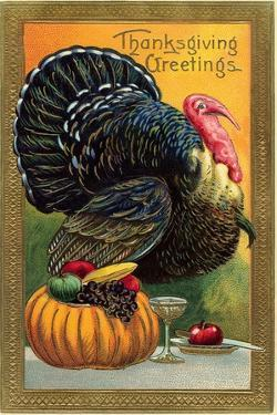 Thanksgiving Greetings, Turkey with Pumpkin, Fruit and Goblet