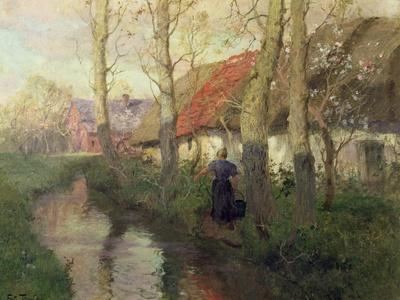 A French River Landscape with a Woman by Cottages