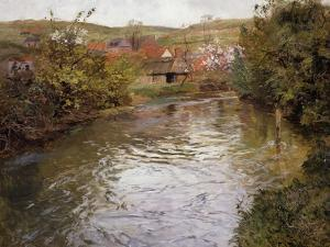 Farmhouses on the Banks of a Stream by Thaulow Frits