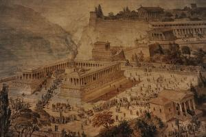 The Acropolis at Pergamon . Turkey. Altar of Zeus. Imaginary Reconstruction by German Painter Fried
