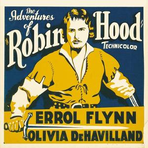 THE ADVENTURES OF ROBIN HOOD, Errol Flynn on jumbo window card, 1938