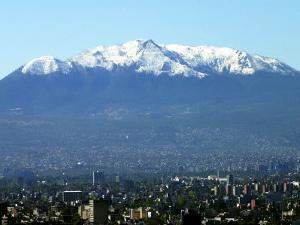 The Ajusco Mountain is Seen Behind Mexico City